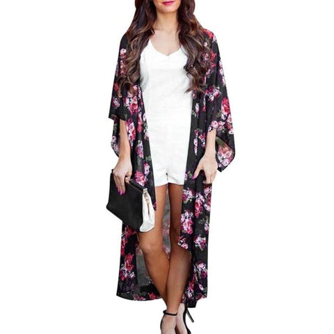 Fashion kimono Style Women Blouse Floral Printed Casual Three Quarter Long Summer Coat