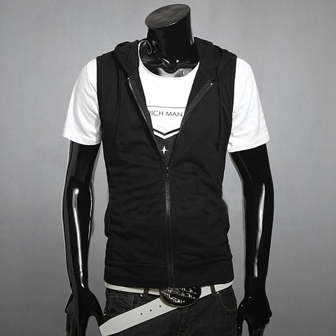 New 2017 Men Casual Slim Fit Basic Hooded Jacket Sleeveless Vest Waistcoat Zipper Hoodies