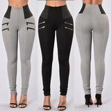 Zipper Patchwork Women Leggings Fitness Workout For Women High Waist Leggins Solid Slim Sport