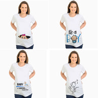 Women's T-shirts Slim Cartoon Maternity Tops Baby is Loading Funny Pregnancy T shirts Cotton