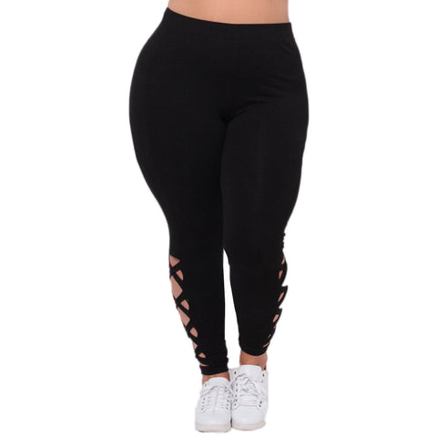 Women Plus Size Elastic Leggings  Solid Criss-Cross Hollow Out Sport Pants