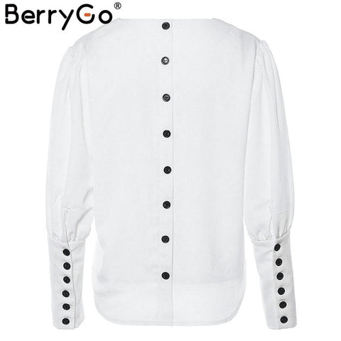 Puff sleeve women blouse shirt Button white v neck tops office lady women shirts
