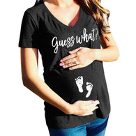 Summer Maternity T-shirts Slim Cartoon Nursing Letter Tops V-Neck