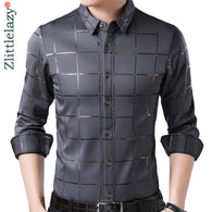 luxury plaid long sleeve slim fit men shirt streetwear social dress shirts