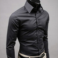 Long Sleeve Fashion Mens Casual Shirts Cotton Solid Color Business Slim Fit