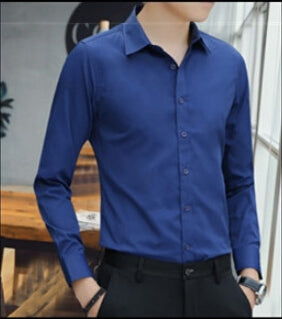 Large Size Men's Long Sleeved Shirt White Blue Black Smart Male Social