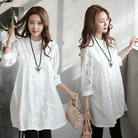 Elegant Pregnant Women Tops Lace White Shirts Fashion Solid Hollow Out Maternity Blouse