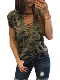 Women Ladies Short Sleeve Camouflage Loose Blouse Summer Lace Up Casual Blouses Shirts Tops