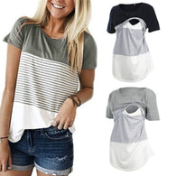 Women's Breastfeeding T-shirt Casual Short Sleeve Loose Nursing Tops