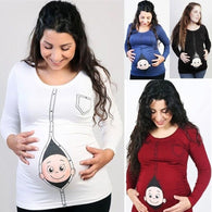 New Cute Pregnant Maternity Clothes Casual Pregnancy T Shirts with Baby Peeking Out Funny