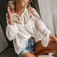 Mesh Lace Hook Flower Lantern Sleeve Loose Short Chiffon Blouse Shirts Long Sleeve Casual Blouses