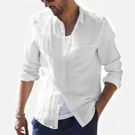 Plus Size Summer New Men Shirt Baggy Cotton Linen Solid Long Sleeve long Shirts