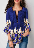Women V-neck Blouse Casual Seven-Sleeve Shirt Ladies Printed Lotus Sleeve Tops Female Plus Size