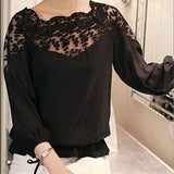 Lace Hollow Collar Chiffon Blouse Fashion Women Backless Three Quarter Sleeve