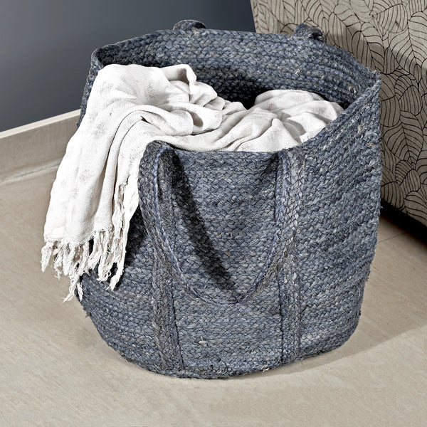 Stripes Jute Woven Laundry Basket(Round)