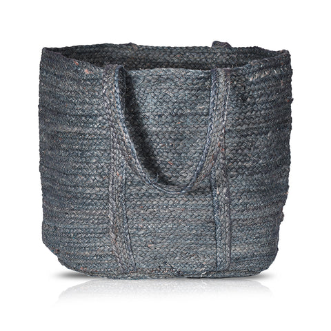 Navy Jute Woven Laundry Basket(Round)