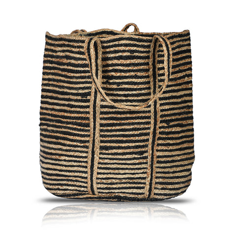 XL Stripes  Woven Jute Basket Round