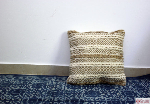 Ornate handicrafts Boho cushions, scandinavian nordic style, bohemian decor, handwoven, artisan made, sofa cushion, India, indigo, Throw, couch, sofa cover, 18""