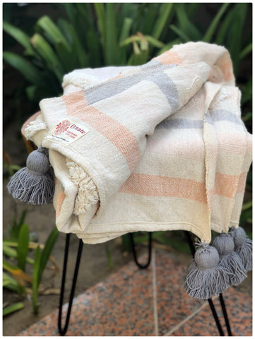 Tufted Grey Pompom Throw Blanket,