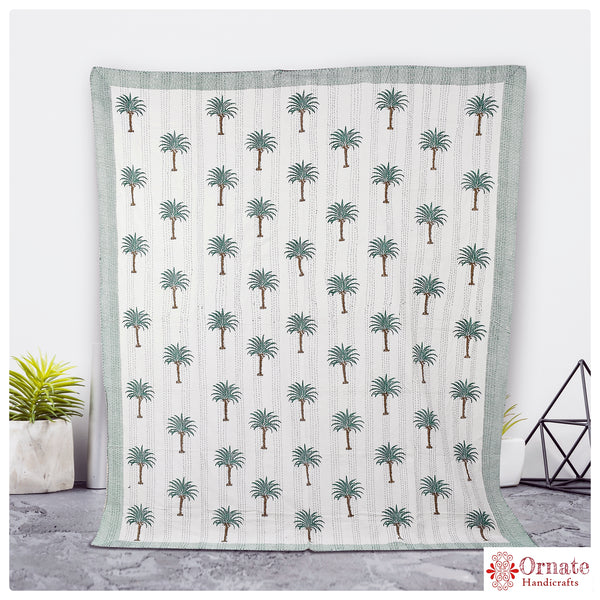 Green Palm Kantha Quilt