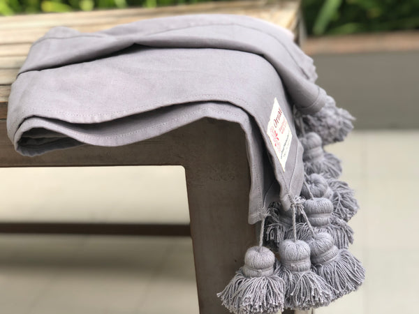 Woven Grey Throw  Blanket