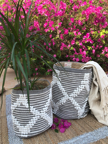 Grey cotton jute woven baskets (set of 2)