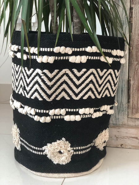 Black Boho Basket