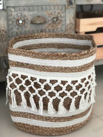 White fringes Jute basket