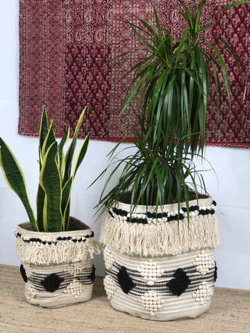 Black-White cotton jute woven baskets (set of 2)