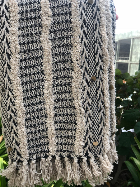 Ivory Black Tufted Throw Blanket