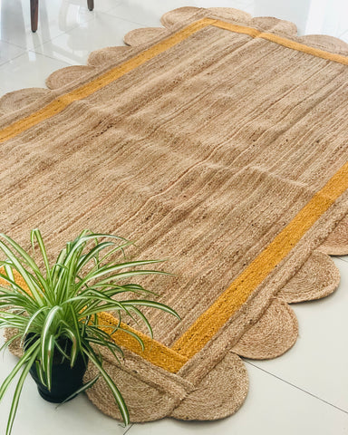 Jute rug Scallop design 6x9 feet