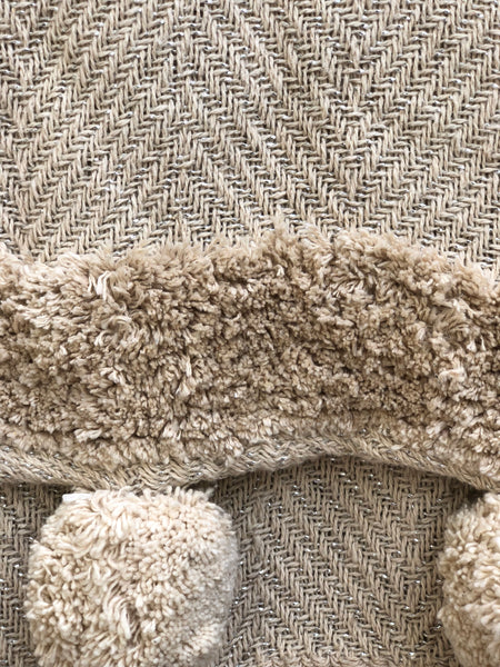 Ivory Tufted Throw with pompoms