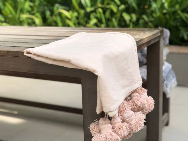 Woven Peach Throw  Blanket