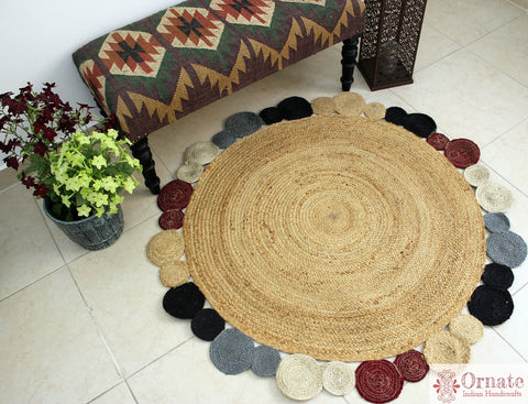 Ornate Handicrafts Jute round rug, Braided jute rug ,natural fiber rug, natural living decor ,accent rug ,round rug ,boho decor