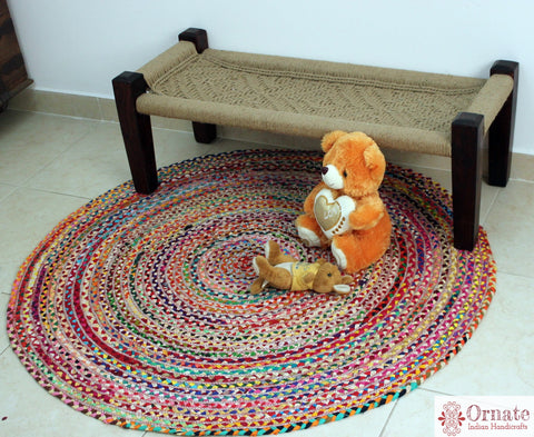 "Upcycled Cotton chindi ""Rangeen"", round. boho chic decor , handwoven, Indian artisans	Upcycled rugs, recycle, sustainable"