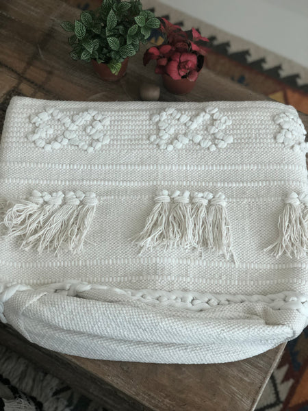 White Boho Basket