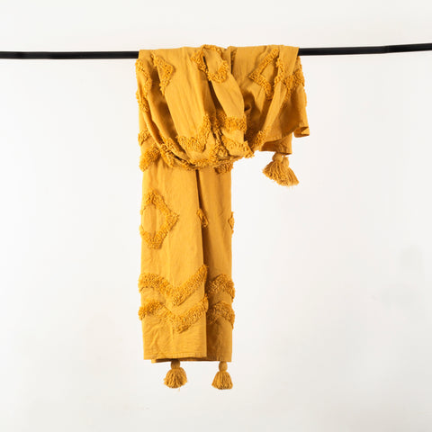 Mustard Tufted Throw with Tassels