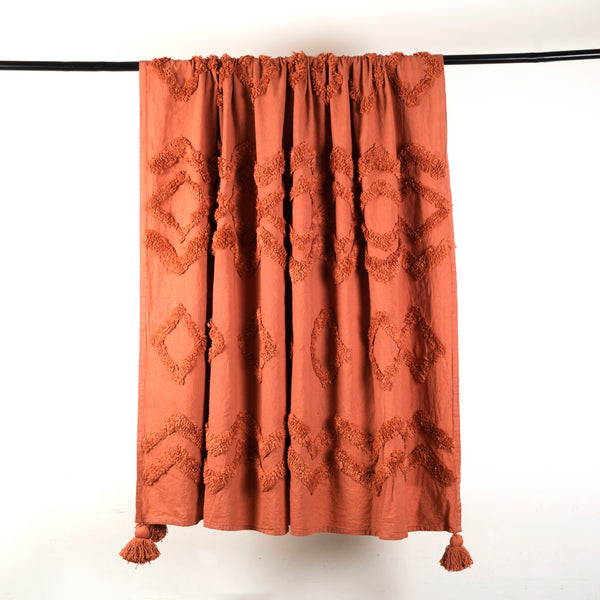 Rust Tufted Throw with Tassels