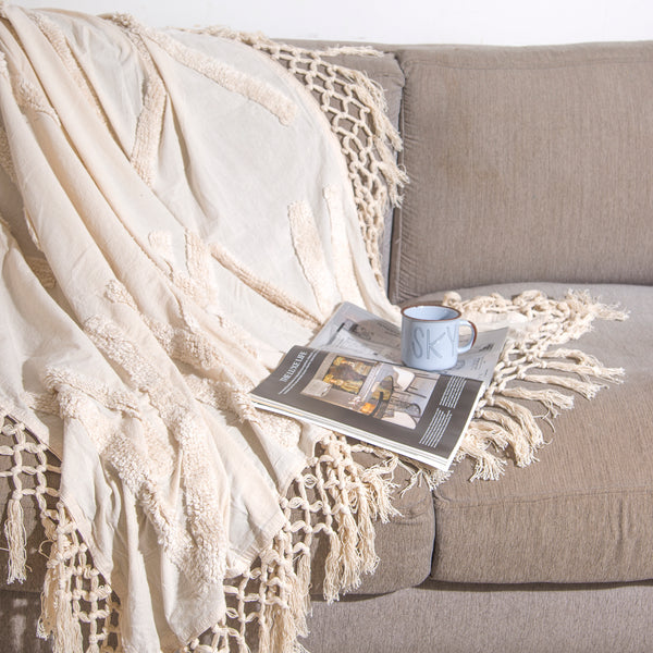 Ivory Tufted Throw