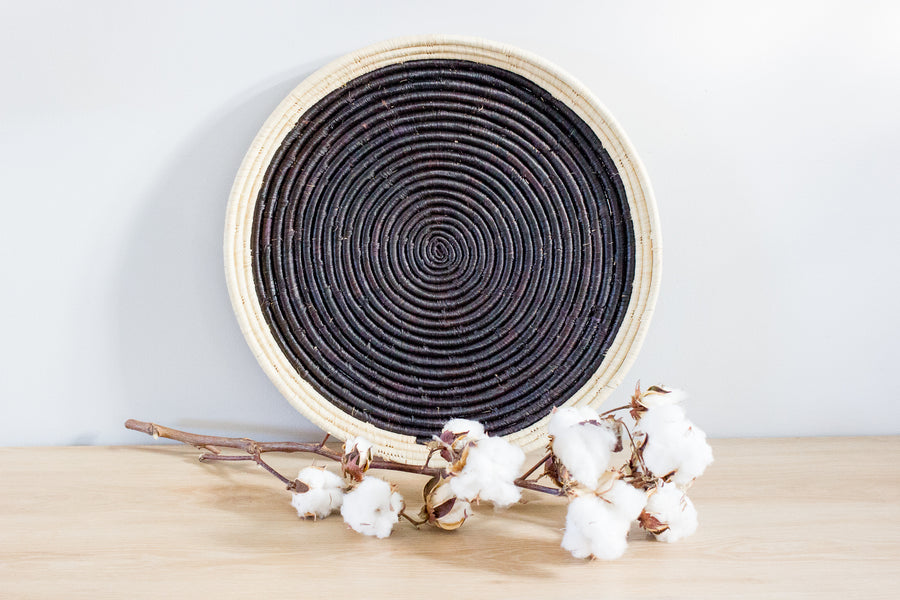 Large Round  Platter – Black with Natural Border