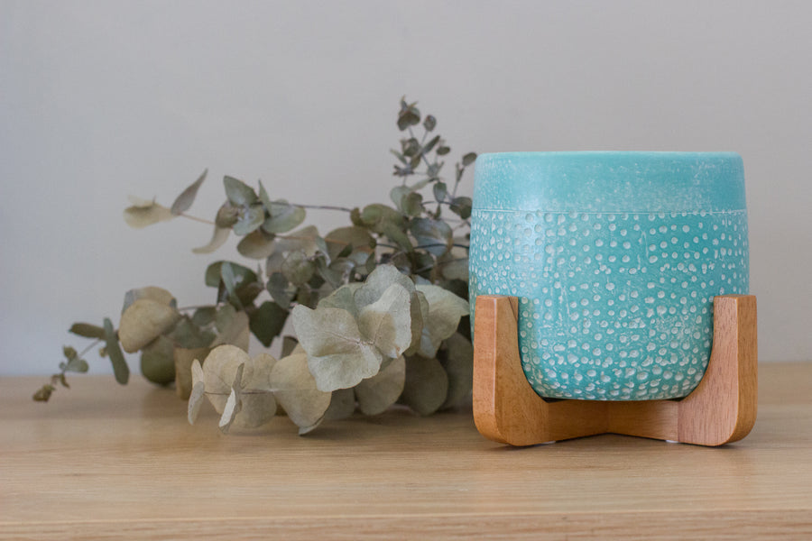 Pepe Planter Pot on Stand - Aqua