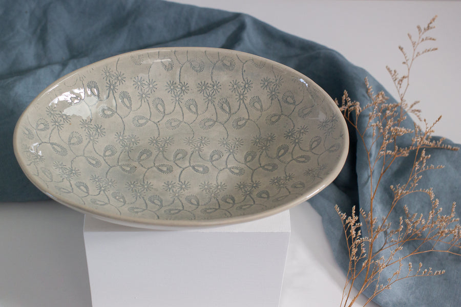 Wonki Ware Etosha Dish - Duck Egg Lace - Medium