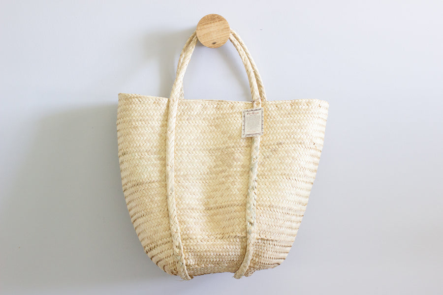 African Woven Basket - Raffia Shopping Bag - Large