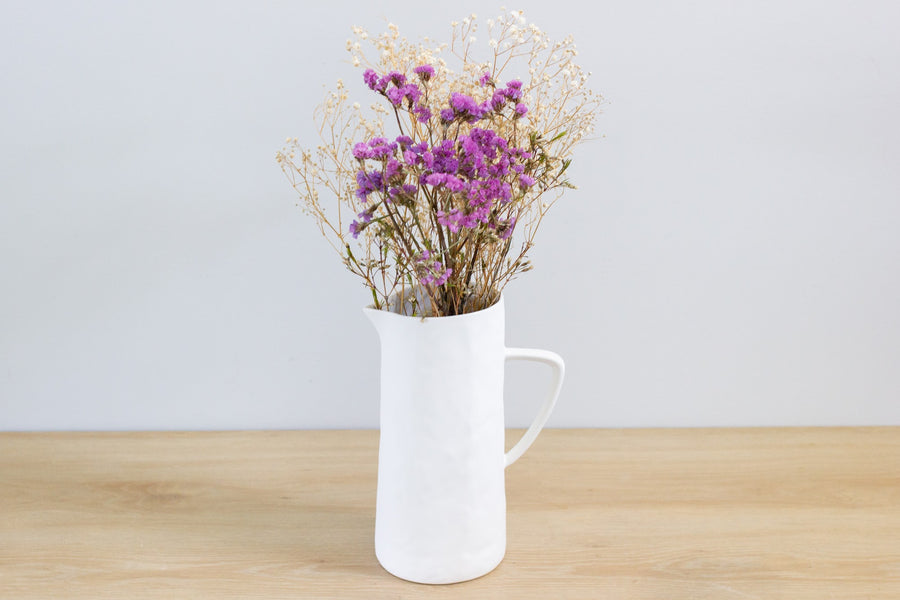 Flax Jug with Handle 24cm - Snow White