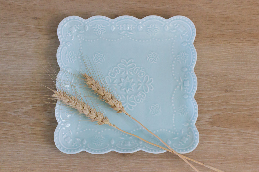 Scallop Square Tray - Blue