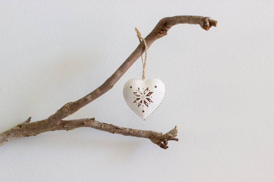 Hanging Heart with Flake Silver - Small