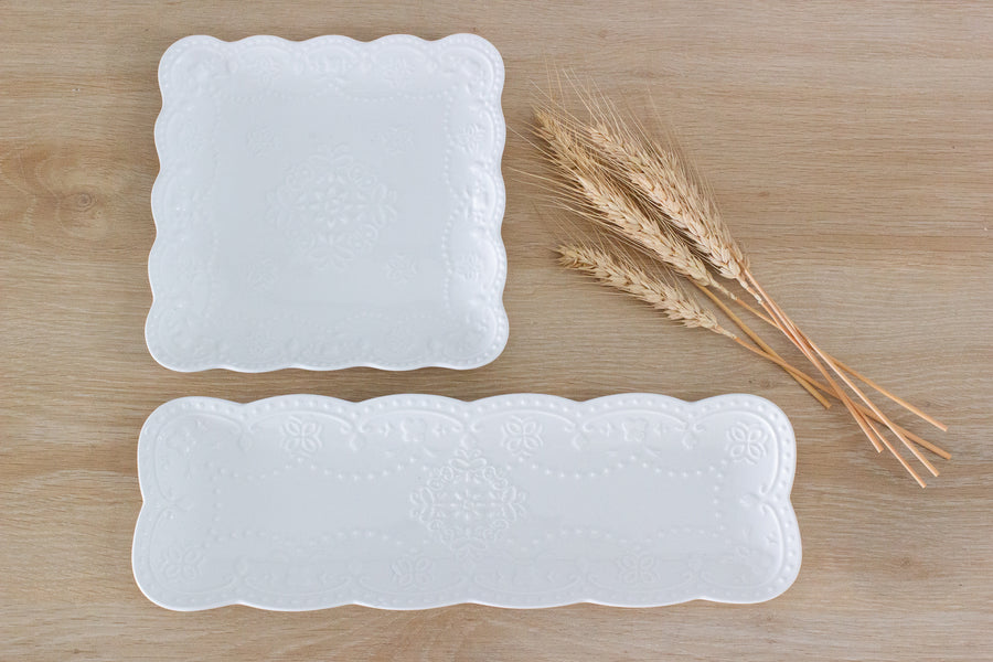 Scallop Rectangle Platters- White