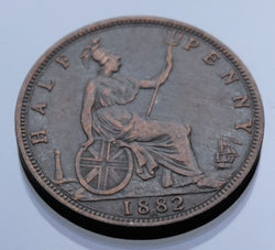 England bronze coin Halfpenny 1882 H