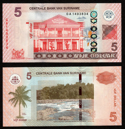 banknote of Surinam 5 Dollars in UNC condition