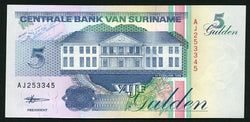 banknote of Surinam 5 Gulden in UNC condition